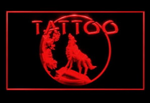 Tattoo Piercing Wolf Body Art Moon Night Wolf LED Neon Sign