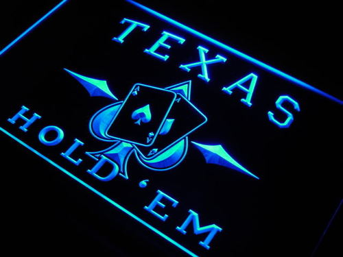 Texas Hold'em Poker Casino Neon Light Sign