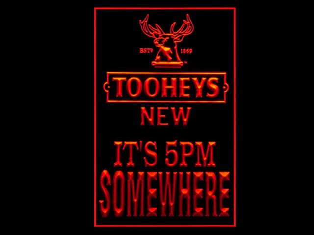 Tooheys New Its 5pm Somewhere Pub Store Tall Light Sign
