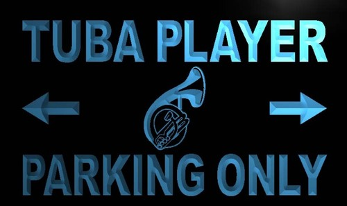 Tuba Player Parking Only Neon Light Sign