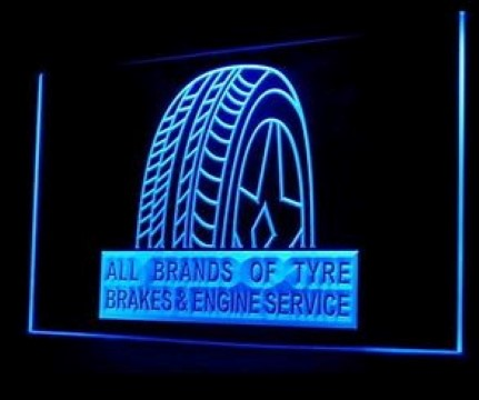 Type Brakes Engine Services Auto Shop LED Neon Sign