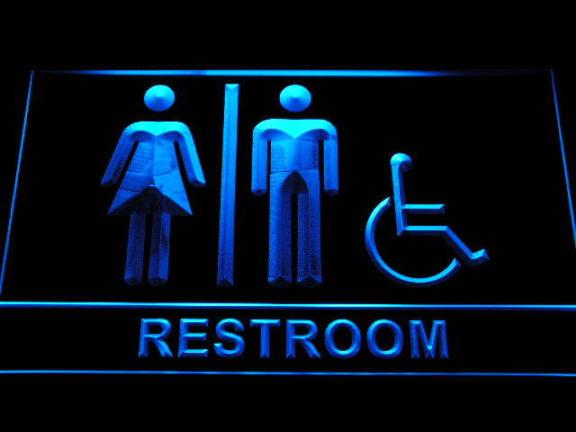 Unisex Toilet with Disabled Accessible Restroom Neon Sign