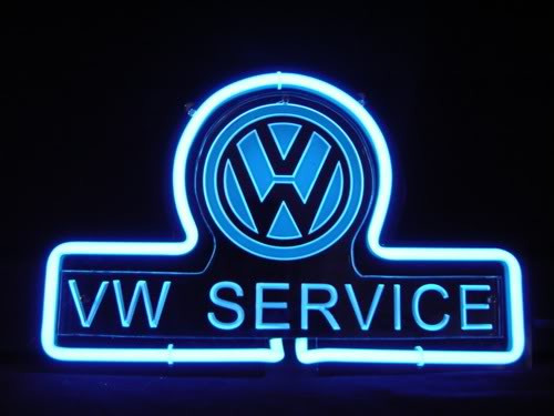 VW Service Logo Neon Bar Mancave Sign