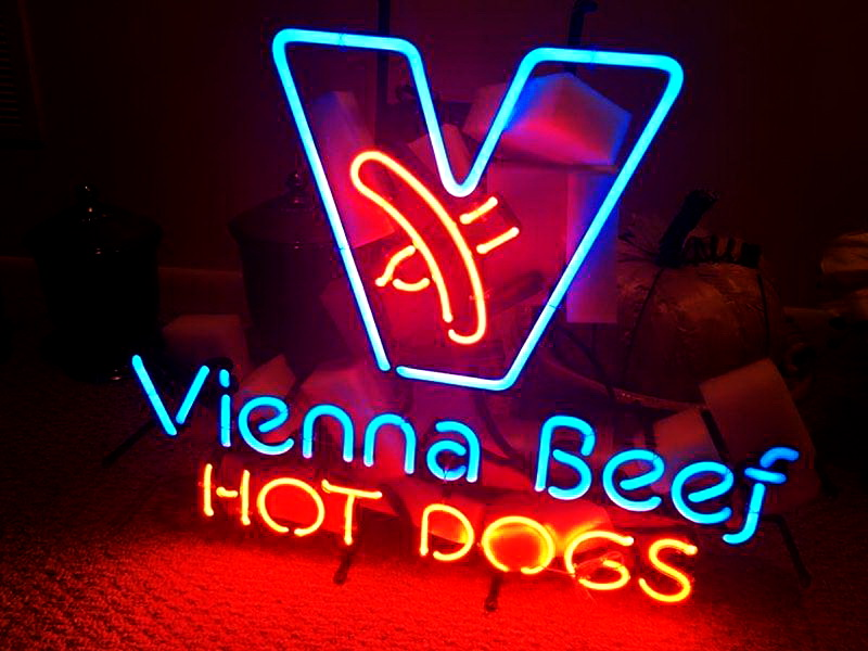 Vienna Beef Hot Dogs Neon Sign