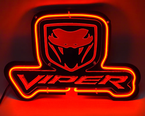 Viper Red Logo Green Neon Bar Mancave Sign