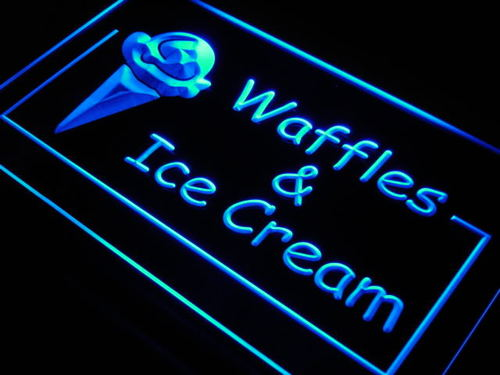 Waffles Ice Cream Cafe Shop Neon Light Sign