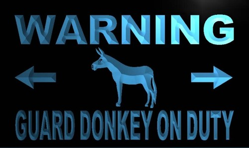 Warning Guard Donkey on Duty Neon Light Sign