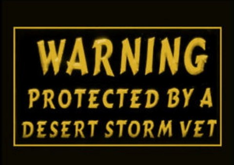 Warning Protected By A Desert Storm Vet LED Neon Sign