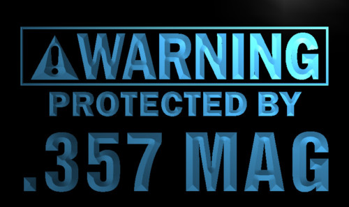 Warning Protected by .357 Mag Gun Neon Sign