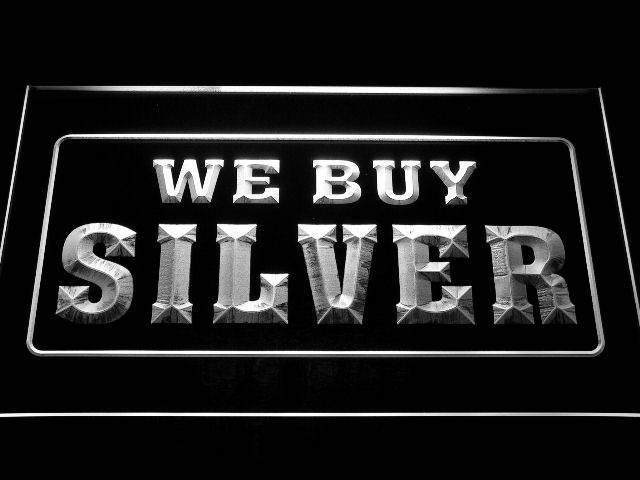We Buy Silver Shop Display Neon Light Sign