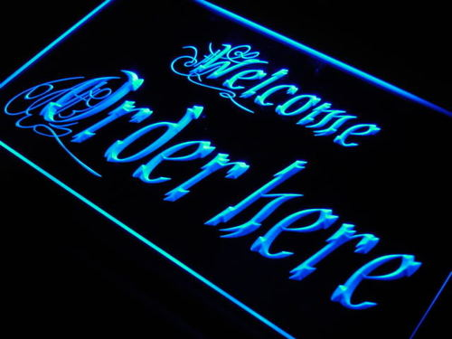 Welcome Order Here Display Shop Neon Light Sign