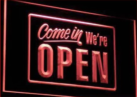 We're OPEN Shop Cafe Bar Display Neon Light Sign