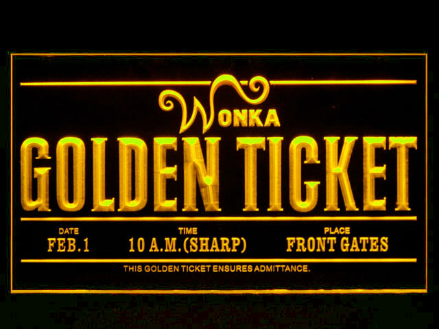 Willy Wonka Golden Ticket Neon Light Sign - Click Image to Close
