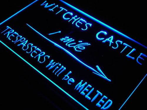 Witches Castle Trespassers Melted Neon Sign
