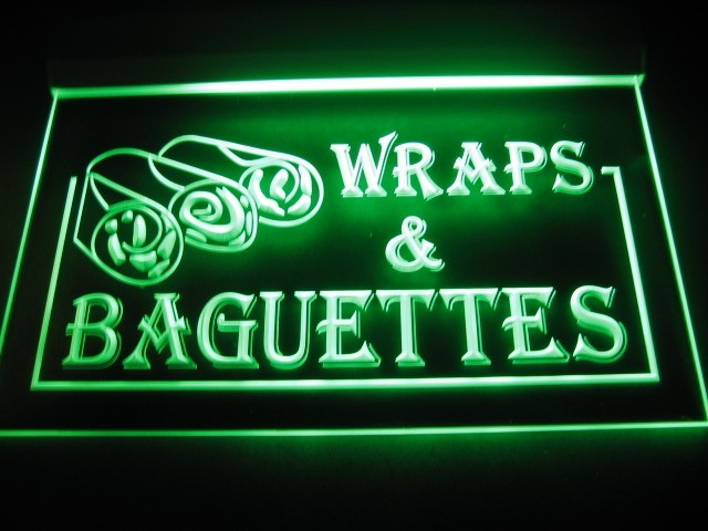 Wraps & Baguettes Logo Neon Light Sign