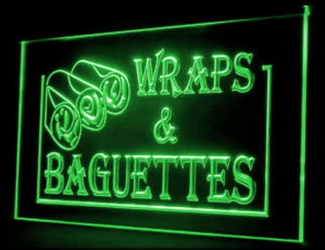 Wraps Baguettes Sandwiches Subs LED Neon Sign