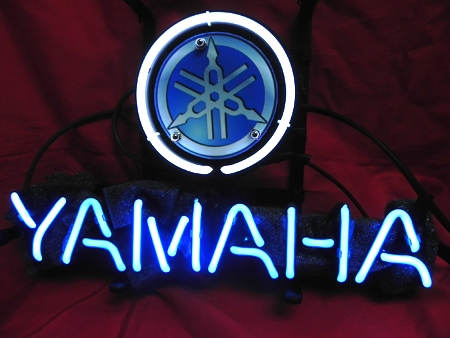 Yamaha Blue Round Logo Bar Classic Neon Light Sign 13 x 9