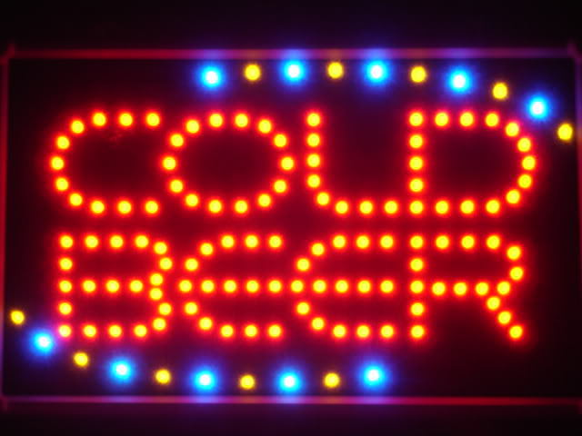 COLD BEER Bar OPEN LED Neon Light Sign