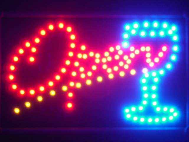 OPEN Cocktail LED Neon Light Sign Whiteboard