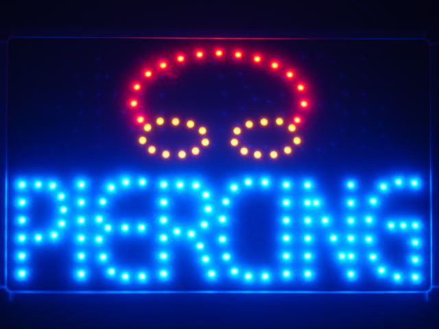 Piercing LED Neon Light Sign with Whiteboard
