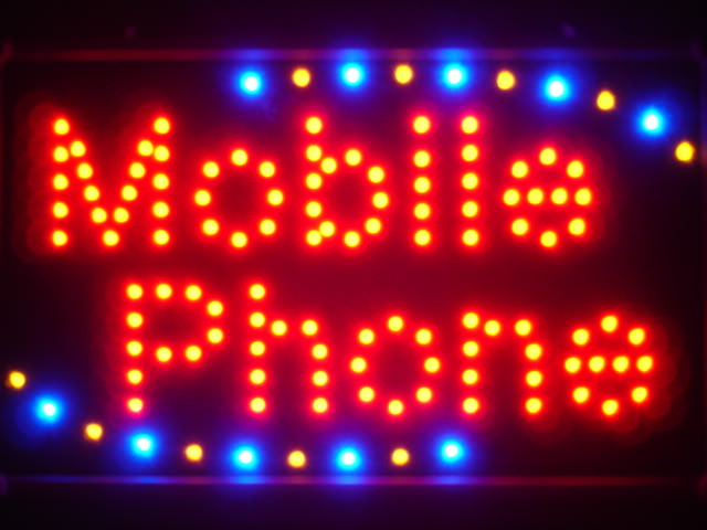 Mobile Phone LED Neon Light Sign Whiteboard