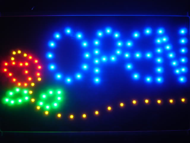 OPEN Flowers Led Neon Sign WhiteBoard