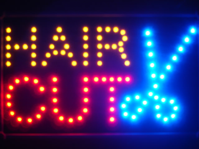 Hair Cut Scissor Led Neon Sign WhiteBoard