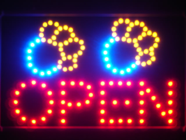 Dog Paw Print OPEN Pet Shop Led Neon Sign