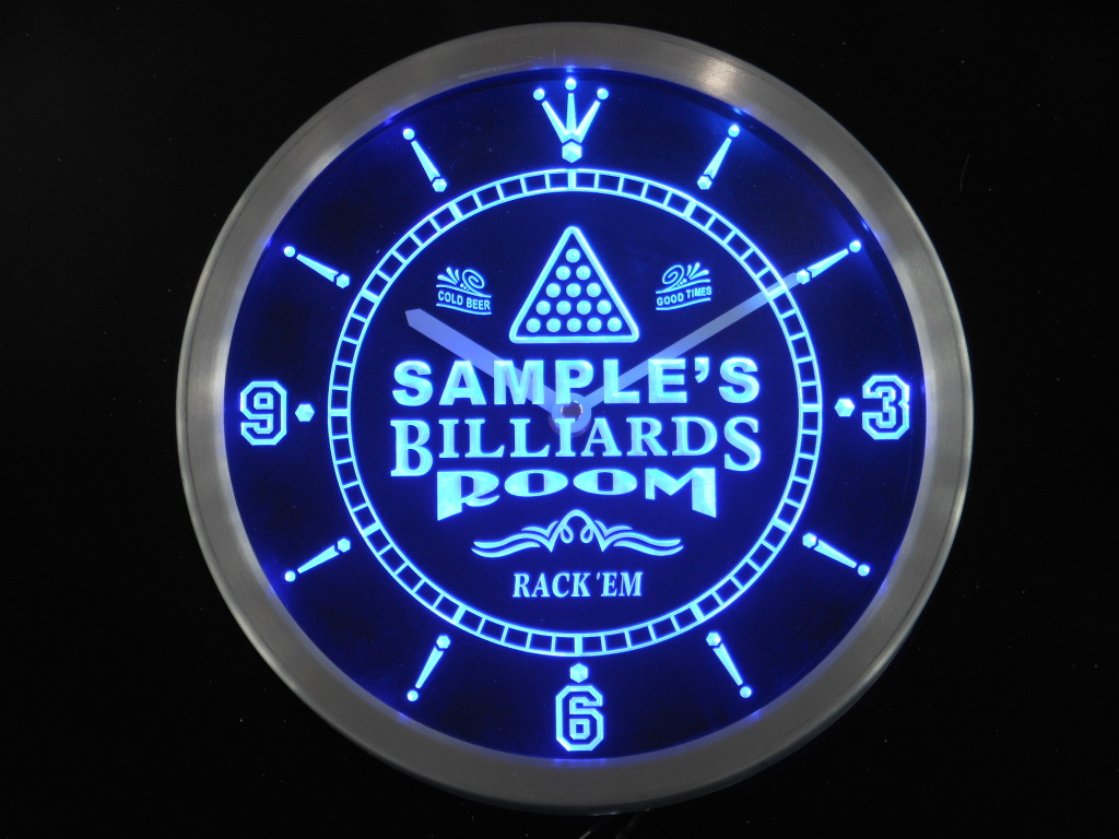 Billiards Room Home Bar Personalized Your Name Bar LED Clock