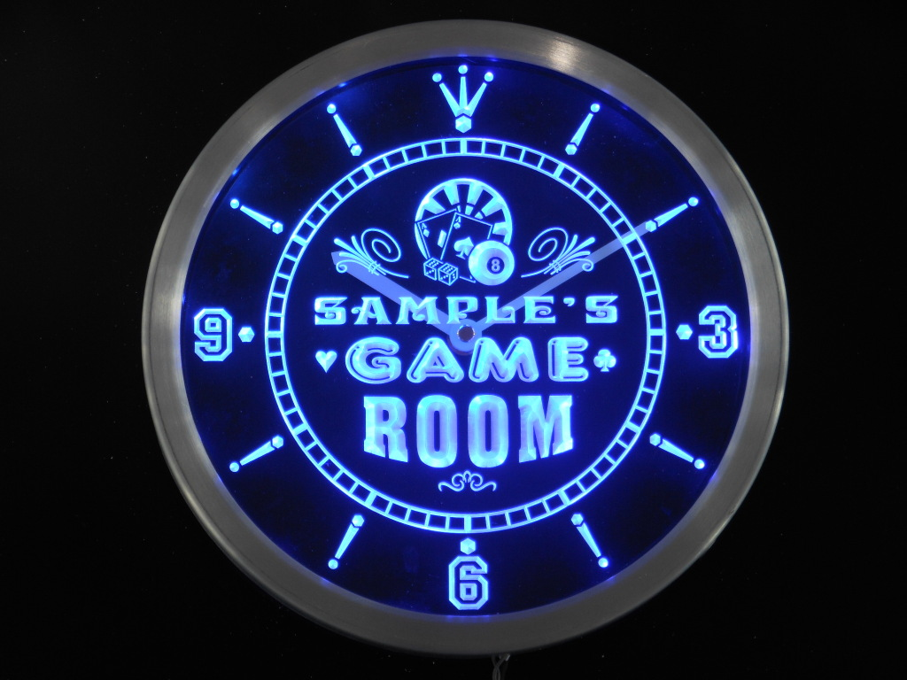 Game Room Personalized Your Name Bar Beer Decor Neon Led Clock