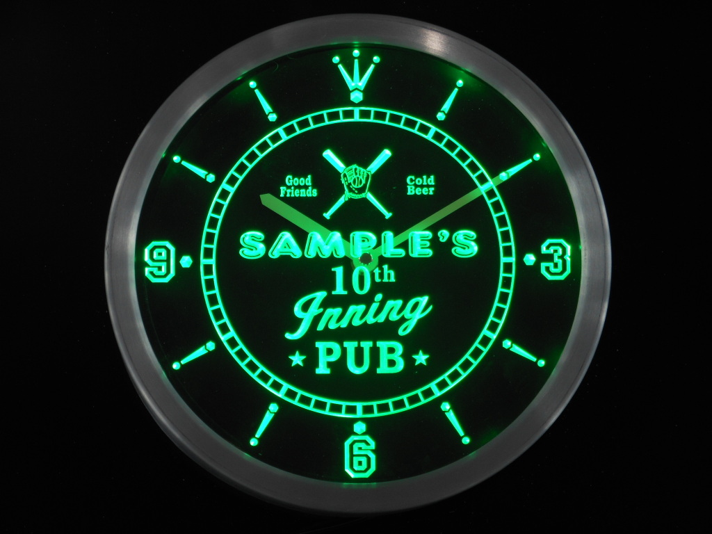 Baseball 10th Inning Pub Personalized Your Name Bar LED Clock