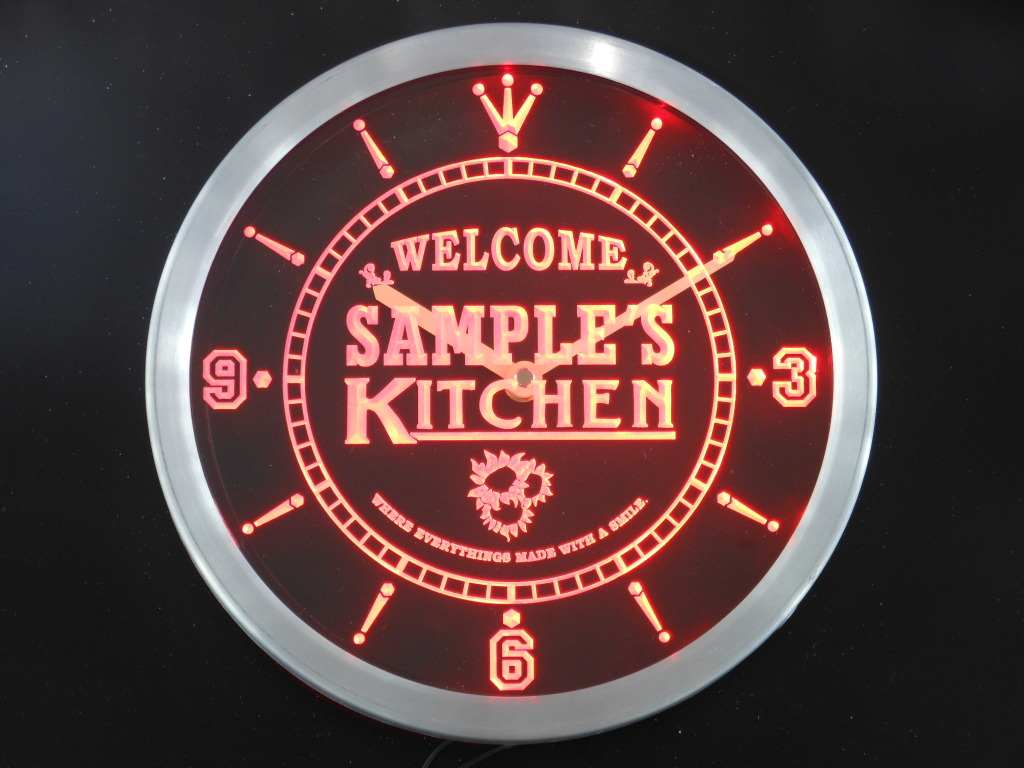 Name Personalized Custom Welcome Kitchen Neon Sign LED Clock