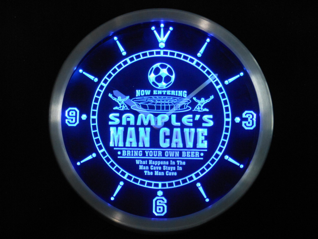 Name Personalized Custom Man Cave Soccer Bar neon LED Clock