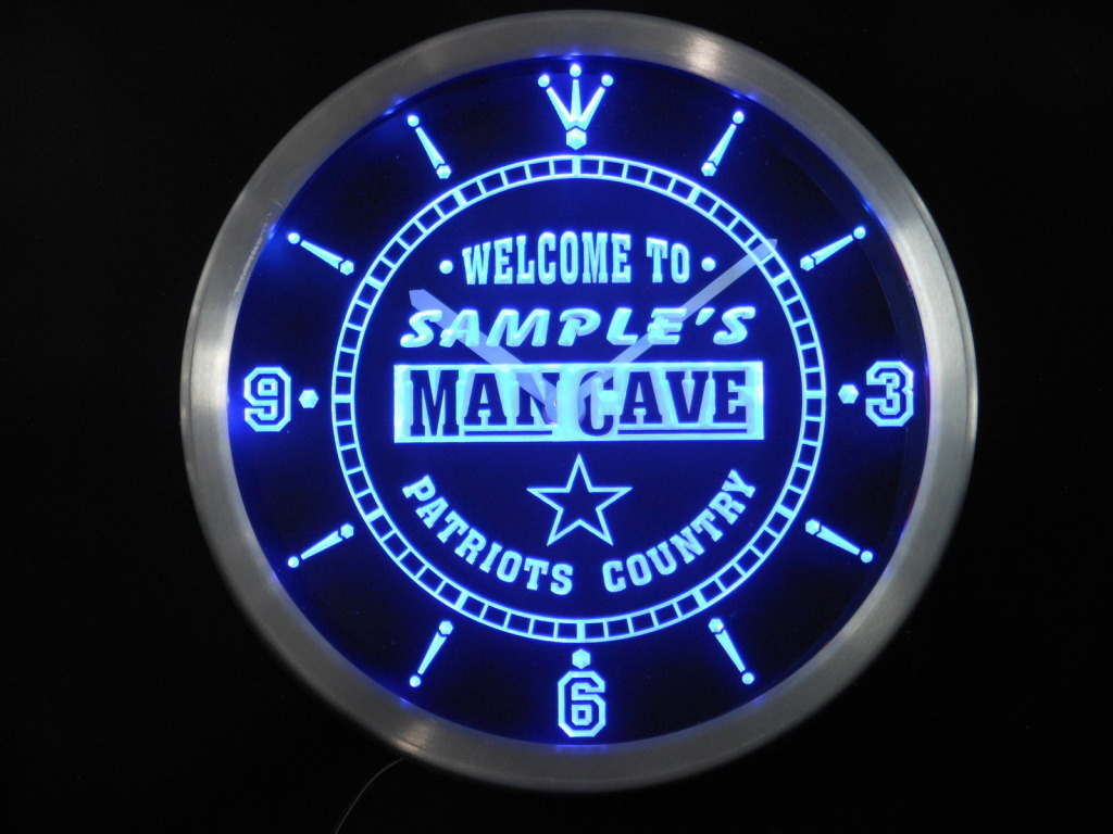 Name Personalized Man Cave Patriots Country Neon LED Clock