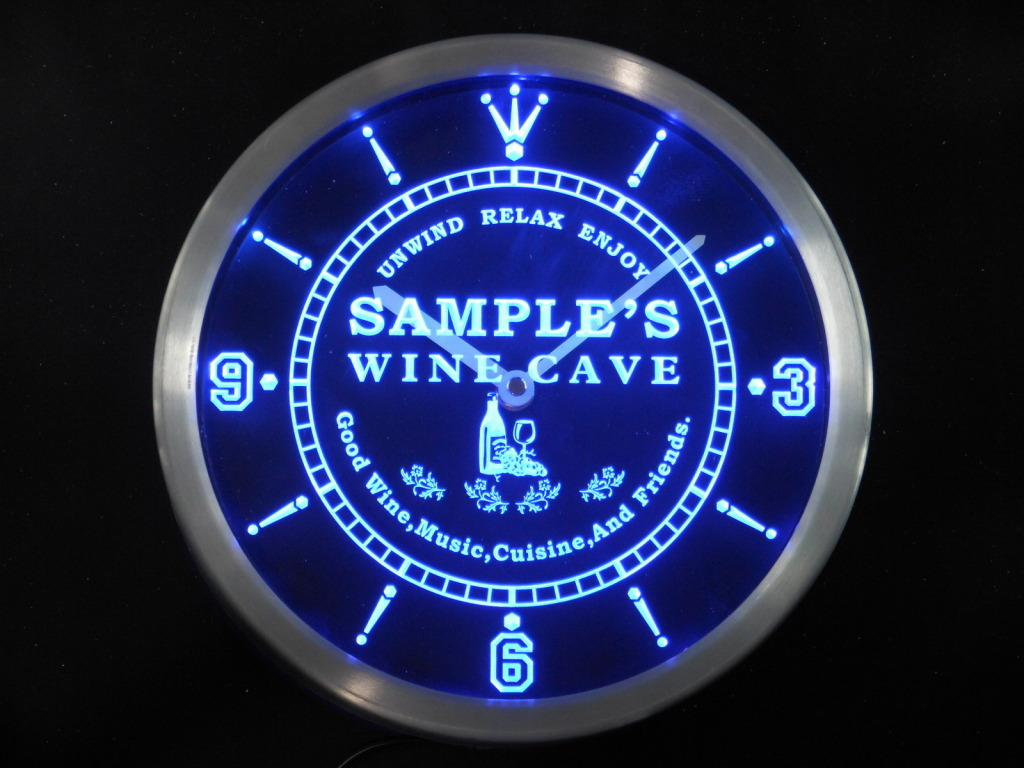 Name Personalized Custom Home Wine Cave Bar LED Clock