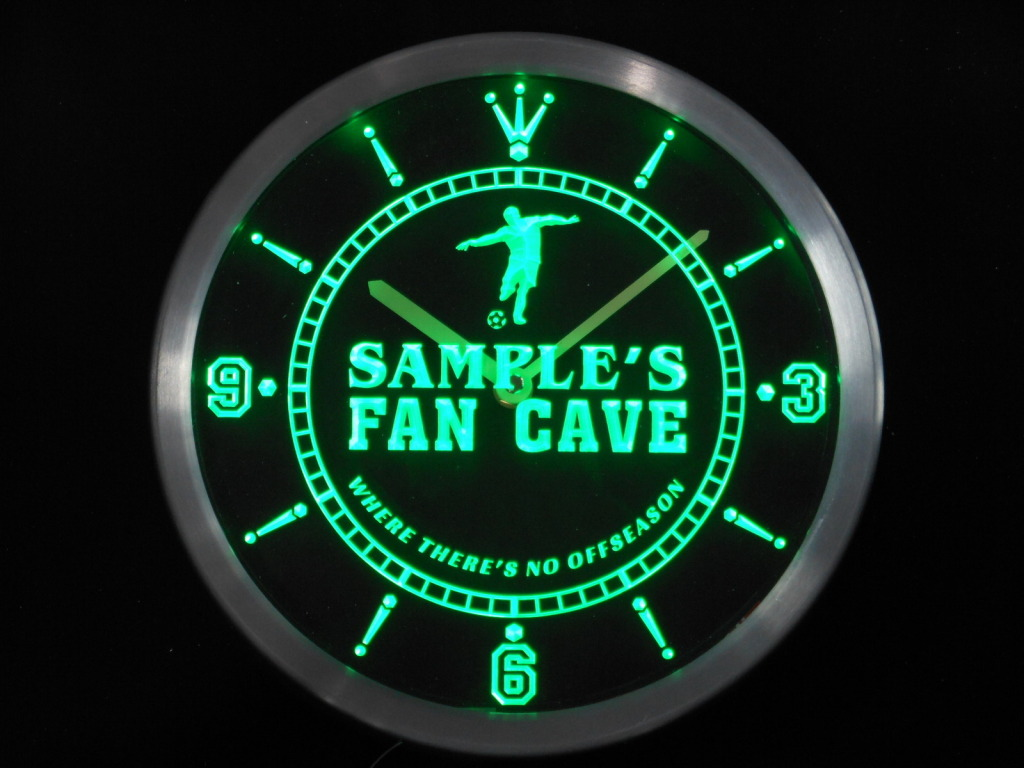 Name Personalized Custom Soccer Football Fan Cave LED Clock