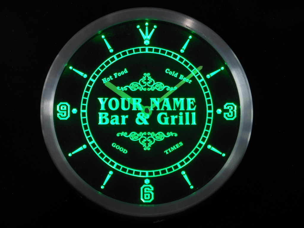 Name Personalized Custom Family Bar & Grill Home LED Clock