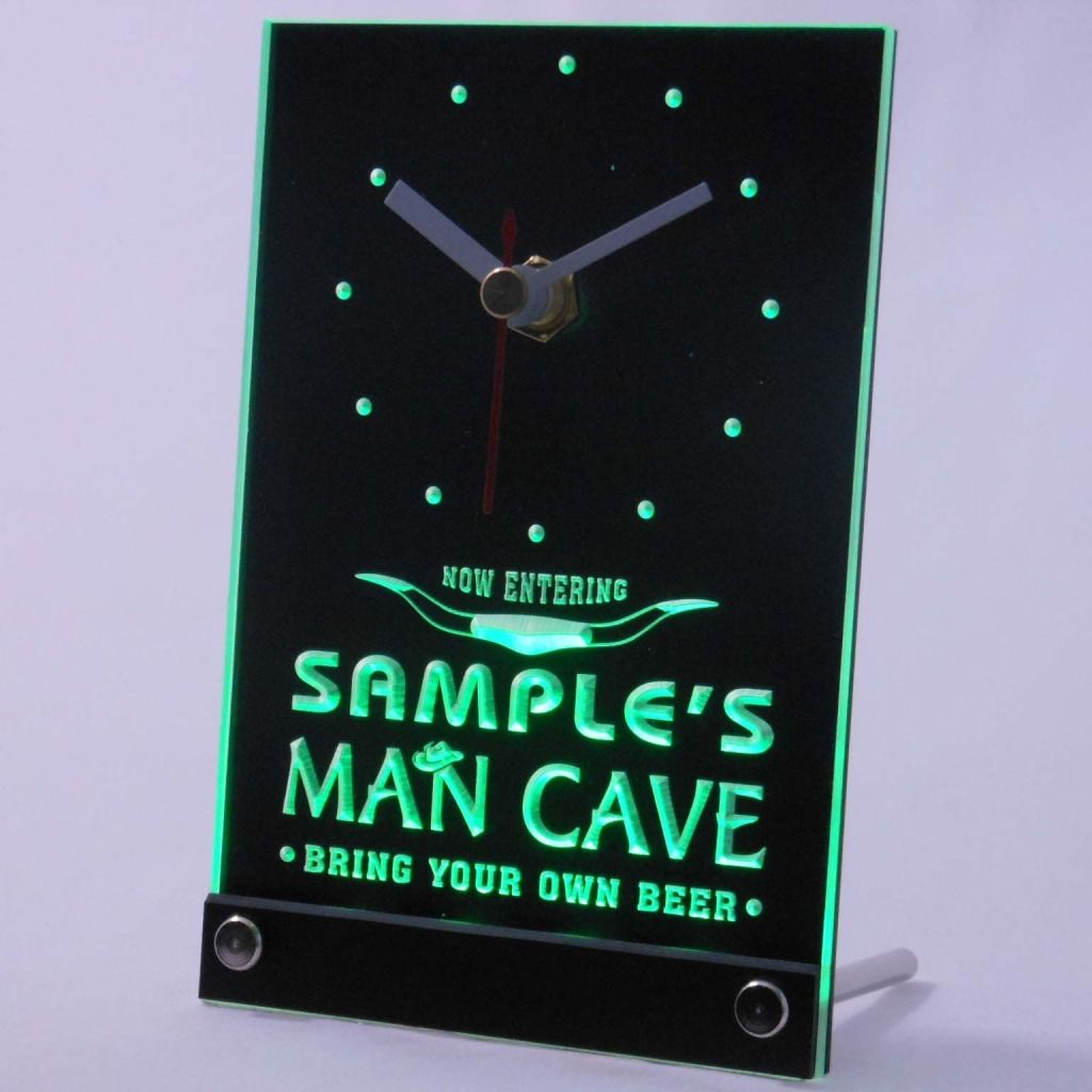 Personalized Man Cave Room Bar Led Table Clock Green