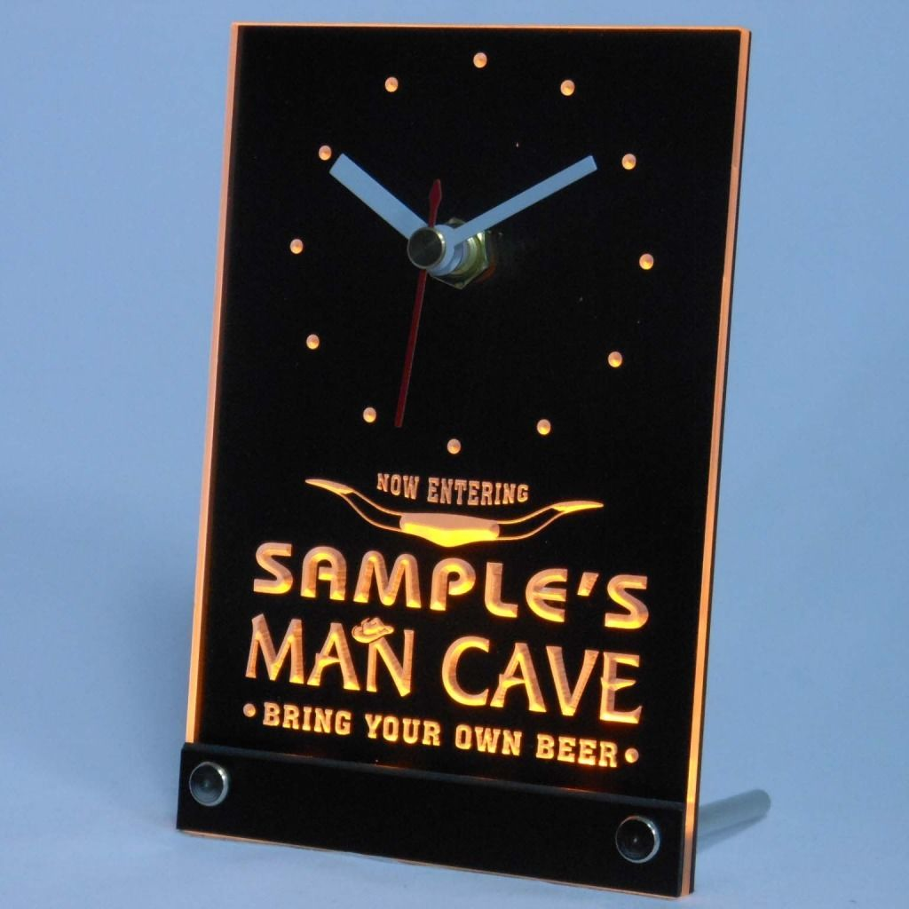 Personalized Man Cave Room Bar Led Table Clock Yellow