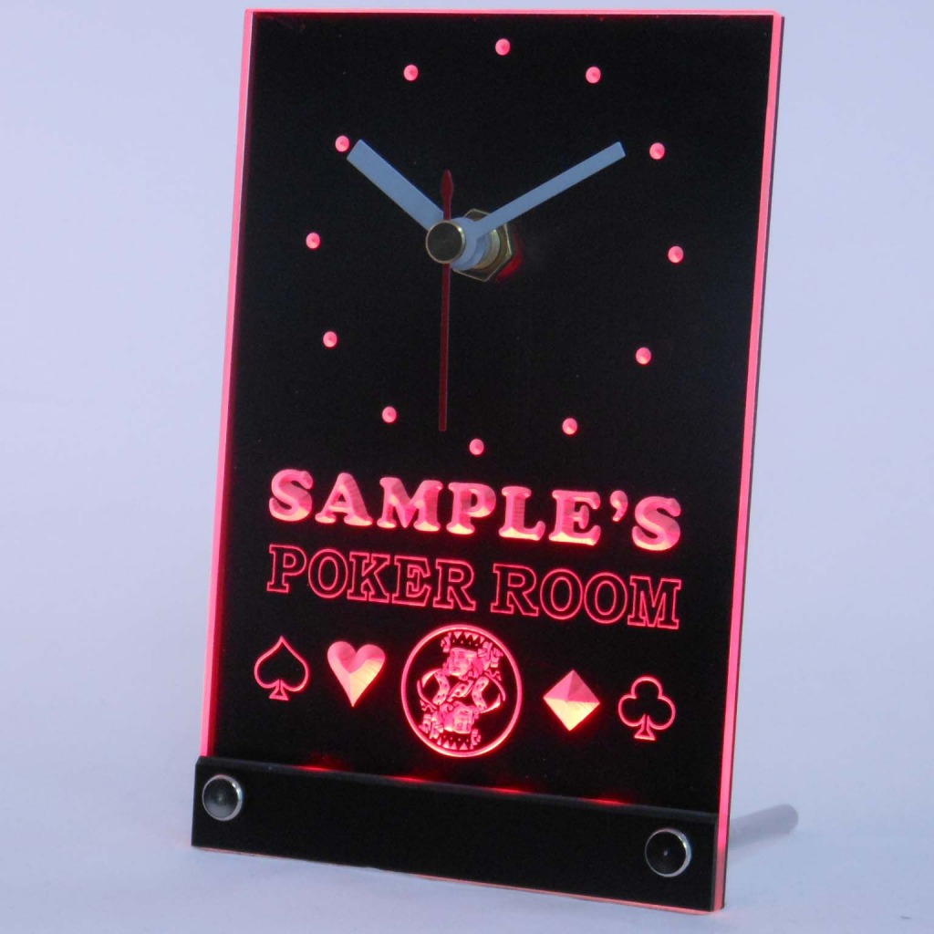 Personalized Poker Room Room Bar Led Table Clock Red