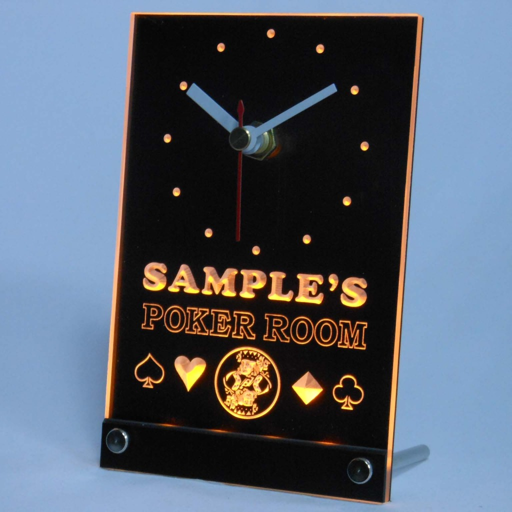 Personalized Poker Room Room Bar Led Table Clock Yellow