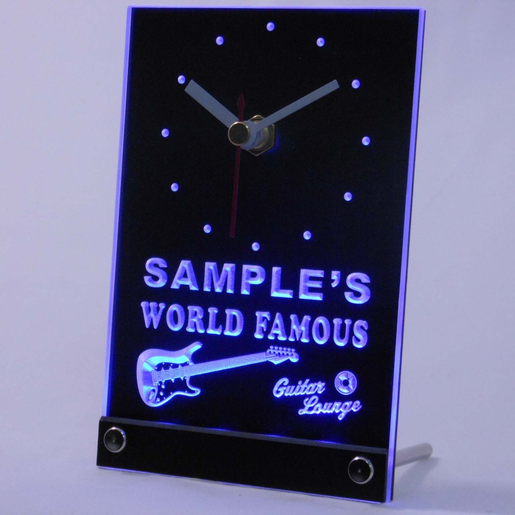 Personalized Guitar Band Room Bar Led Table Clock Blue