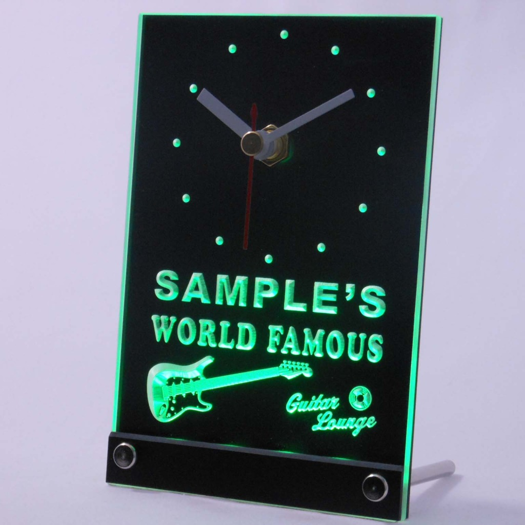 Personalized Guitar Band Room Bar Led Table Clock Green