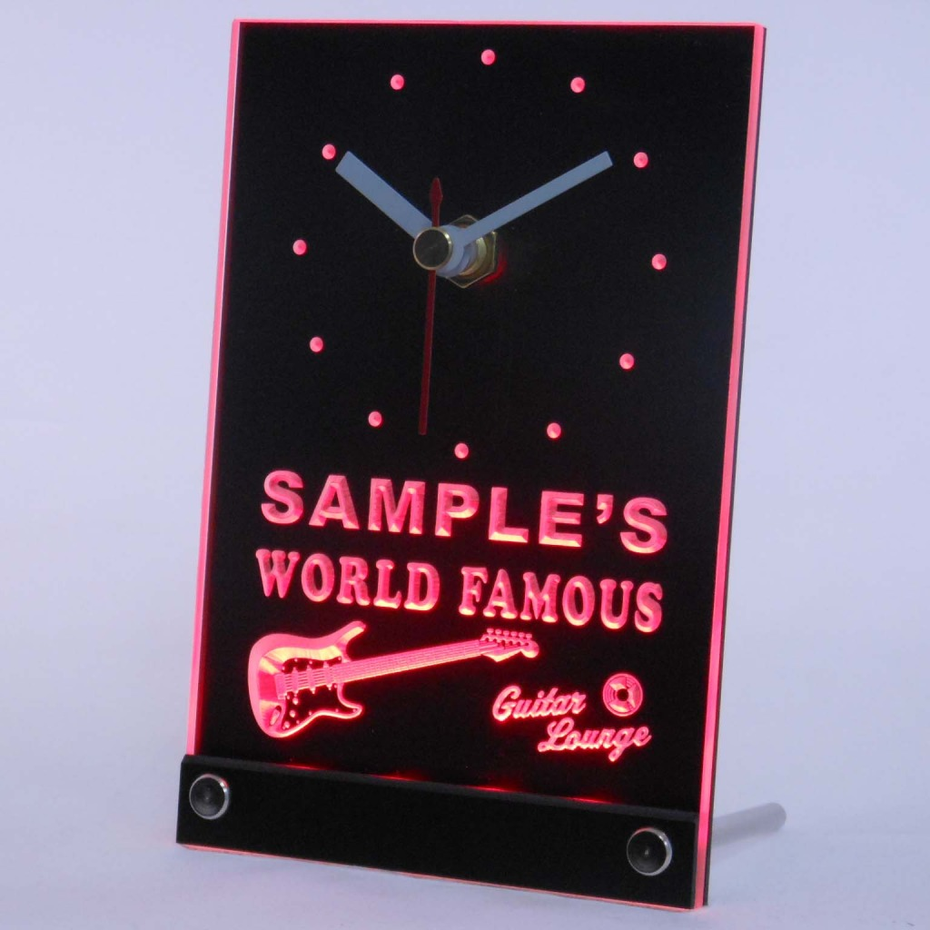 Personalized Guitar Band Room Bar Led Table Clock Red