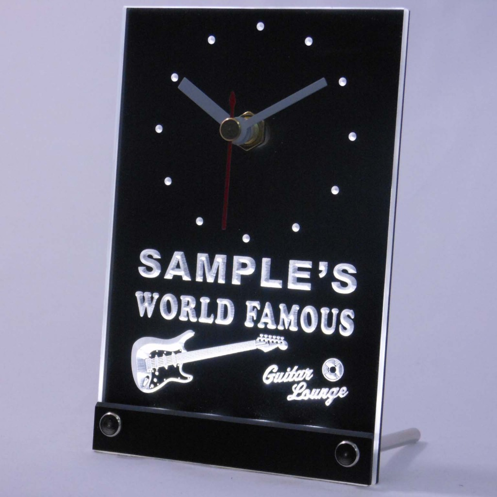 Personalized Guitar Band Room Bar Led Table Clock White