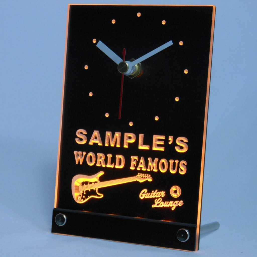 Personalized Guitar Band Room Bar Led Table Clock Yellow