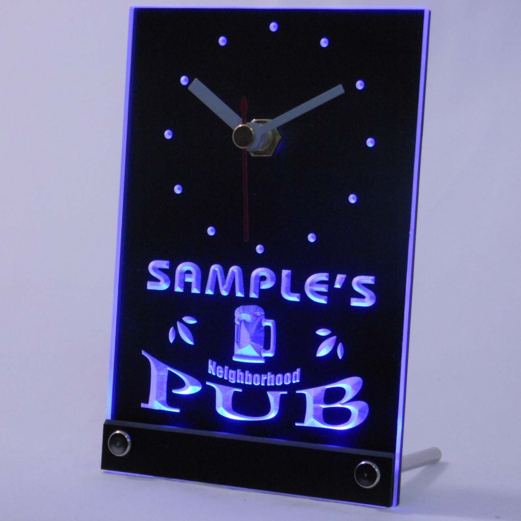 Personalized Neighborhood Pub Bar Led Table Clock Blue