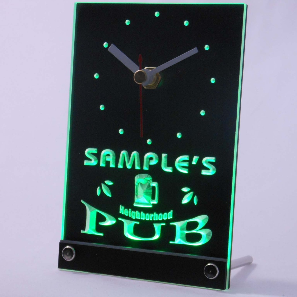 Personalized Neighborhood Pub Bar Led Table Clock Green