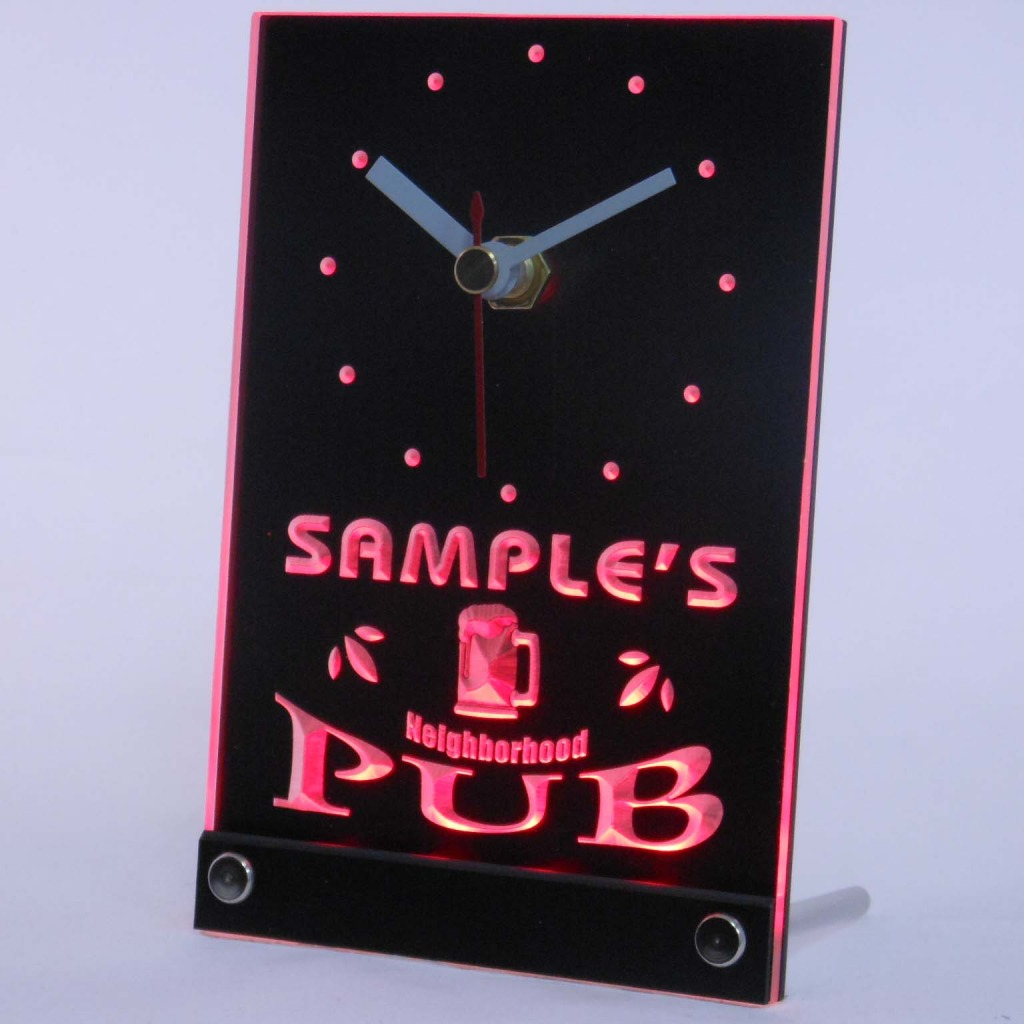 Personalized Neighborhood Pub Bar Led Table Clock Red
