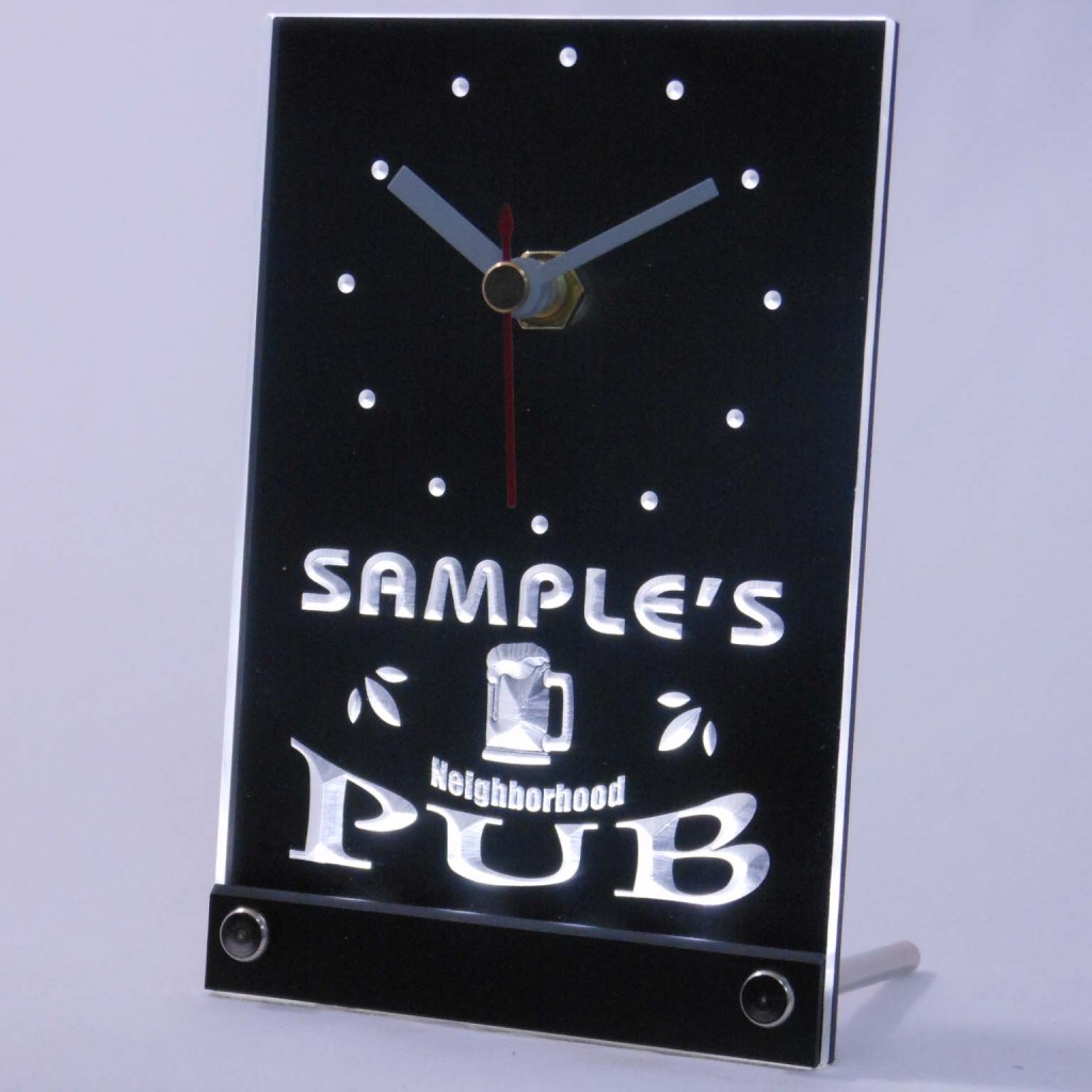 Personalized Neighborhood Pub Bar Led Table Clock White